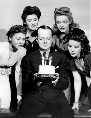 Charita Bauer - Bauer at right in 1943, celebrating the fifth anniversary of The Aldrich Family with Mary Rolfe, Ann Lincoln, Mary Shipp and creator Clifford Goldsmith.  Bauer formerly played Mary Aldrich on the program.