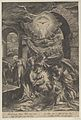 The Birth of Christ, who is held by the Virgin against a penumbra of light, adoring angels, and Joseph leading a donkey at left MET DP836955.jpg