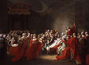British Institution - The Collapse of the Earl of Chatham in the House of Lords, 7 July 1778 by John Singleton Copley; exhibited in the first exhibition, although over 20 years old.