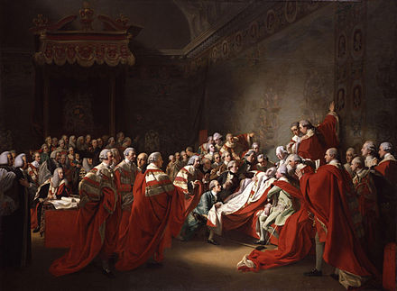 The Death of the Earl of Chatham in the House of Lords, 7 April 1778. Painting by John Singleton Copley, 1779-80. (In fact he died 34 days after the seizure depicted.) The Death of the Earl of Chatham by John Singleton Copley.jpg