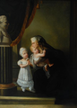 The Dowager Duchess of Berry in mourning with her two children praying to a bust of her husband in circa 1822 by Gérard.png