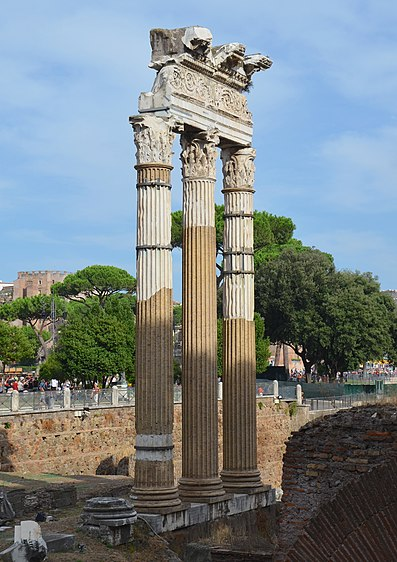 File:The Forum of Caesar (built near the Forum Romanum in Rome in 46 BC) and the Temple of Venus Genetrix, Imperial Forums, Rome (21101482544).jpg