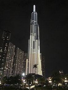 Photograph of Vietnam's tallest skyscraper, the Landmark 81, located in Bình Th?nh District in Ho Chi Minh City