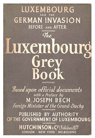 Luxembourg government-in-exile - The Luxembourg Grey Book (1942) published on behalf of the government to inform the Allied public about Luxembourg's role in the conflict.