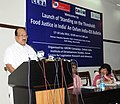 The Minister of State (Independent Charge) for Consumer Affairs, Food and Public Distribution, Professor K.V. Thomas addressing at the launch of the Bulletin on Food Justice in India, in New Delhi on July 18, 2012.jpg