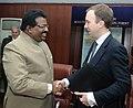The Parliamentary Under Secretary of State for Skills, UK, Mr. Matthew Hancock meeting the Minister of State for Labour & Employment, Shri Kodikunnil Suresh, in New Delhi on January 22, 2013.jpg