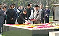 The President of France, Mr. Nicolas Sarkozy paying floral tributes at the Samadhi of Mahatma Gandhi at Rajghat, in Delhi on January 25, 2008.jpg