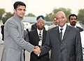 The President of the Republic of South Africa Dr. Jacob Zuma being received the Minister of State of Communications and Information Technology, Shri Sachin Pilot, at Airforce Station Palam, in New Delhi on June 03, 2010.jpg