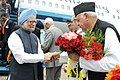 The Prime Minister, Dr. Manmohan Singh being welcomed by the Union Minister of New and Renewable Energy, Dr. Farooq Abdullah, on his arrival at Srinagar Airport, in Jammu & Kashmir on June 07, 2010.jpg