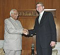 The Prime Minister of Finland, Mr. Matti Vanhanen shaking hands with the Speaker of Lok Sabha, Shri Somnath Chatterjee, in New Delhi on March 14, 2006.jpg