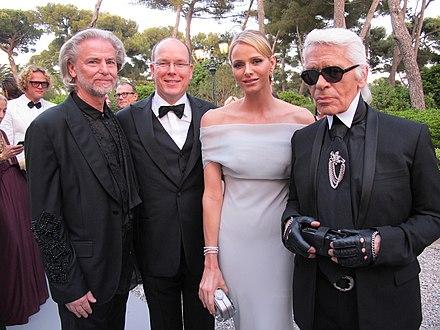 da734b1feb9 Lagerfeld with Hermann Bühlbecker, Prince Albert II and Charlene, Princess  of Monaco (2011
