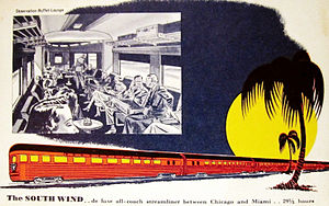 South Wind (train) - Postcard ad for the train, circa 1940s.