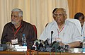 The Speaker, Lok Sabha, Shri Somnath Chatterjee addressing the press conference at the concluding session of the Presiding Officers Conference in Haryana Vidhan Bhawan Complex, in Chandigarh on September 23, 2008.jpg