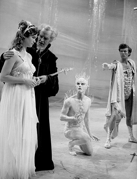 A production of The Tempest, L-R: Lee Remick, Maurice Evans, Roddy McDowall and William Bassett (1960)