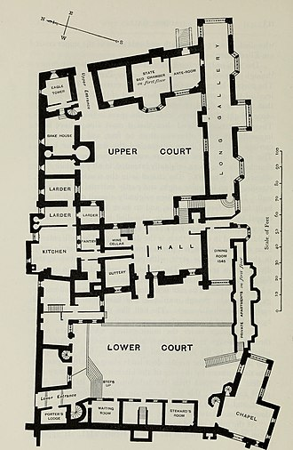 Buttery (room) - The buttery is typically located  close to a dining hall as in this example from Haddon Hall, Derbyshire; ground plan from 1886