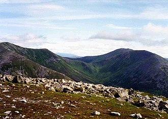 Beinn a' Ghlò - Bràigh Coire Chruinn-bhalgain (left) and Càrn nan Gabhar (right) seen from Càrn Liath