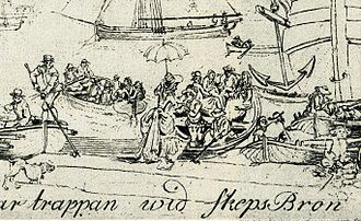 "Ulla Winblad - Detail from etching ""The steps on Skeppsbro"" depicting a scene in Stockholm's harbour by Elias Martin, 1800. The central figure is popularly supposed to represent Ulla Winblad."