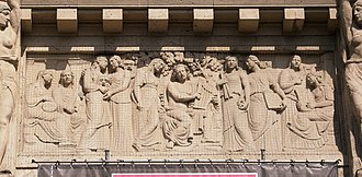 Theater Lübeck - Relief in the middle of the facade, showing Apollo and the Muses