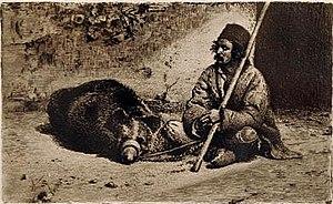 Ursari - The Ursar, drawing by Theodor Aman