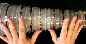 Glass harmonica - Spinning glass disks (bowls) on a common shaft are arranged with the lower notes (larger disks) to the left and higher notes (smaller disks) to the right.