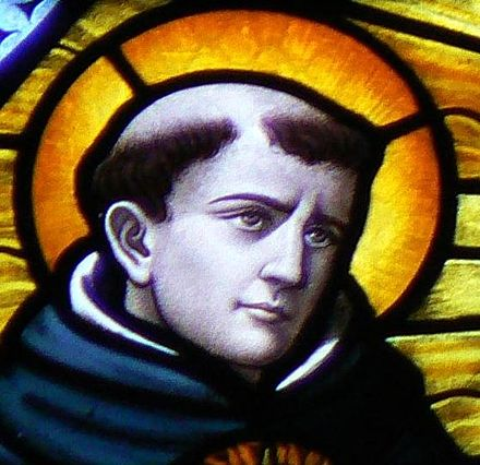 Thomas Aquinas (c. 1225-1274) Thomas Aquinas in Stained Glass crop.jpg