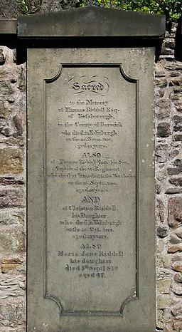 Thomas Riddell's Grave, Greyfriars Kirkyard