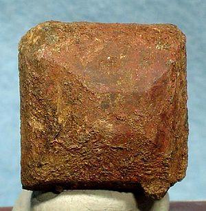 Thorite - Thorite crystal from the Kemp uranium mine in Ontario (size: 2.2 x 2.2 x 1.6 cm)