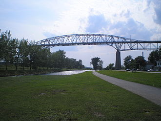 Cornwall, Ontario - The north span of the Three Nations Crossing seen from Cornwall's west end.  This bridge is being torn down as it has been replaced by a much shorter low-level bridge to Cornwall Island.