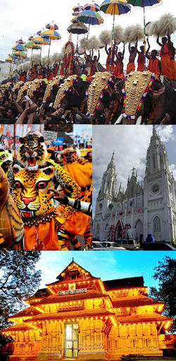 Clockwise from top: Thrissur Pooram, Our Lady of Dolours Basilica, Puli Kali, Vadakkunnathan Temple