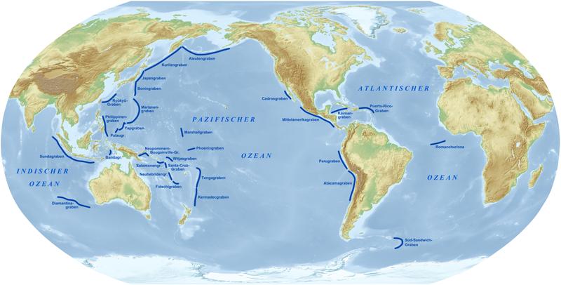 Weltkarte mit Tiefseegräben