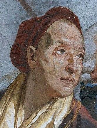 Giovanni Battista Tiepolo - Image: Tiepolo, Giovanni Battista Fresken Treppenhaus des Würzburger Residenzschlosses, Szenen zur Apotheose des Fürstbischofs, Detail Giovanni Battista Tiepolo 1750 1753