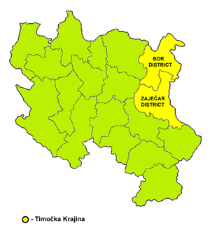 Drawn map of Timočka Krajina, with region highlighted in red