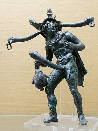 Tintinnabulum (Ancient Rome) - A bronze polyphallic tintinnabulum of Mercury from Pompeii: the missing bells were attached to each tip (Naples Museum)