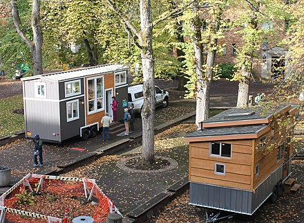 Tiny houses on display in Portland, Oregon
