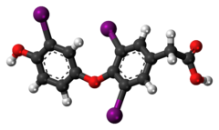 Ball-and-stick model of the tiratricol molecule