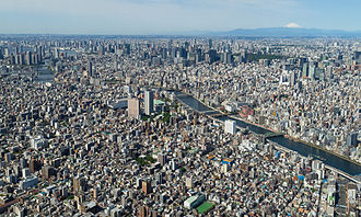 The Greater Tokyo Area is ranked as the most populous metropolitan area in the world. Tokyo from the top of the SkyTree.JPG
