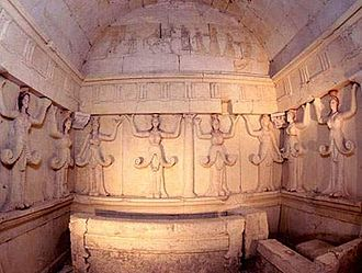 Dromichaetes - The main burial chamber of the Thracian tomb of Sveshtari in northeast Bulgaria.