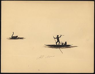Black swan emblems and popular culture - Aboriginal hunters and black swan, by Tommy McRae, v. 1865