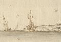 Torre de Sam Juliam da Barra - Vista e perspectiva da Barra, Costa e Cidade de Lisboa (Bernardo de Caula, 1763).png