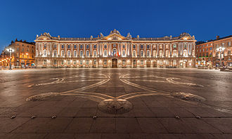 Midi-Pyrénées - The Capitole of Toulouse, and the square of the same name with the Occitan cross designed by Raymond Moretti on the ground