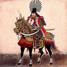 Dessin deToyotomi Hideyoshi sur son cheval