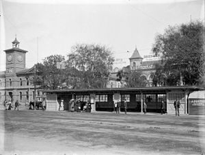 Christchurch tramway system - Tram shelter in Cathedral Square, circa 1905.