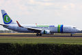 Transavia Boeing 737-800 landing on 18R at Schiphol (4806175823).jpg