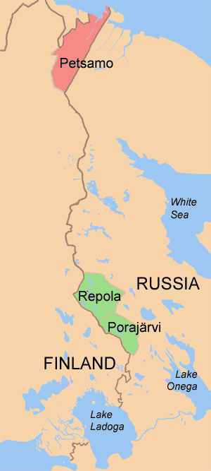 Treaty of Tartu (Russian–Finnish) - The Finnish-Russian border was decided in the Treaty of Tartu. Petsamo (in red) became Finnish, whilst Repola and Porajärvi (green) were handed back to Soviet Russia.