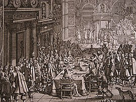 The peace banquet (Fredstaffelet) at Frederiksborg Castle following the signing of the Treaty of Roskilde in 1658. Treaty of Roskilde - peace banquet.jpg