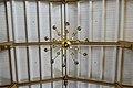 Tromsø Cathedral (domkirke) Norway interior. Chandelier (lysekrone), ceiling, timber roof truss (takstoler). Wooden church 1861 Chr. H. Grosch 2019-04-04 DSC02292.jpg