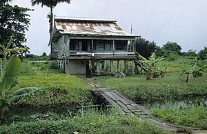 Marienburg, Suriname - One of the old laborer housing units on plantation Mariënburg (circa 1997).