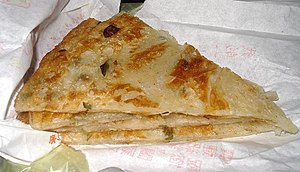 A green onion pancake (cao you bing)