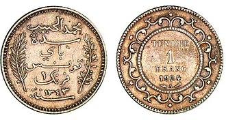 Tunisian franc - Image: Tunisian franc in 1924
