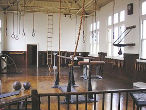 Exercise equipment in a gymnastic-hall